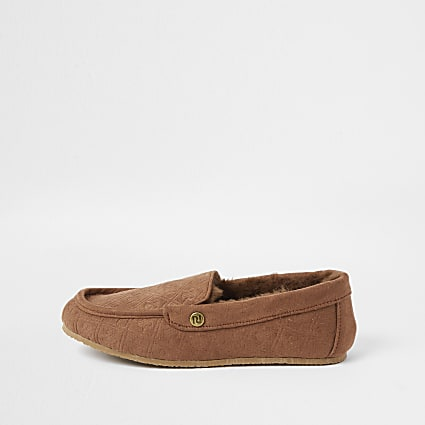 Boys brown RI monogram moccasin slippers