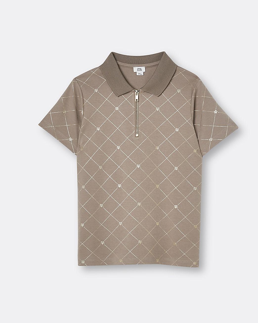 Boys brown RI monogram print polo shirt