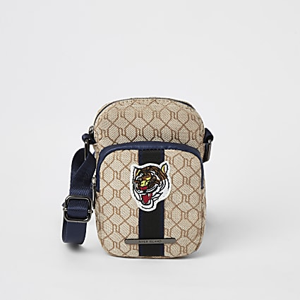 Boys brown RI monogram tiger cross body bag