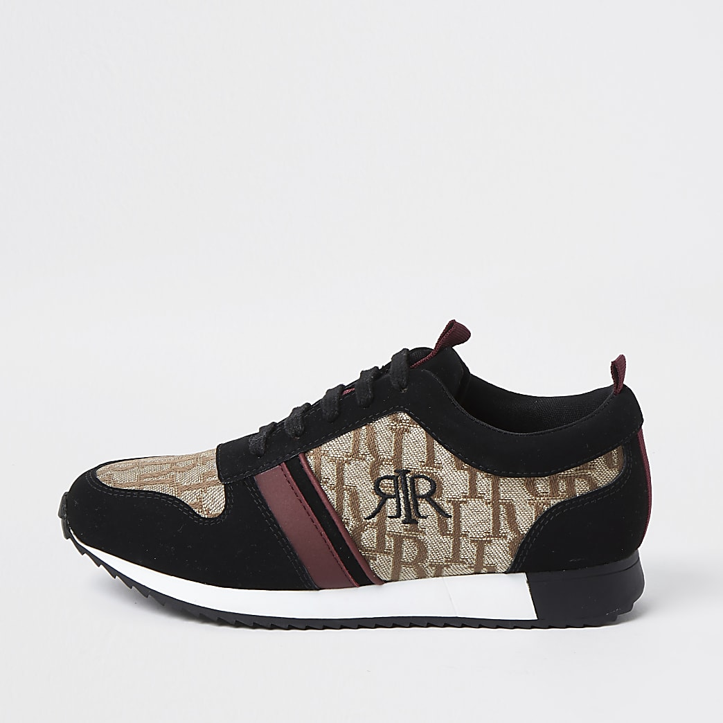 Boys brown RI monogram trainers