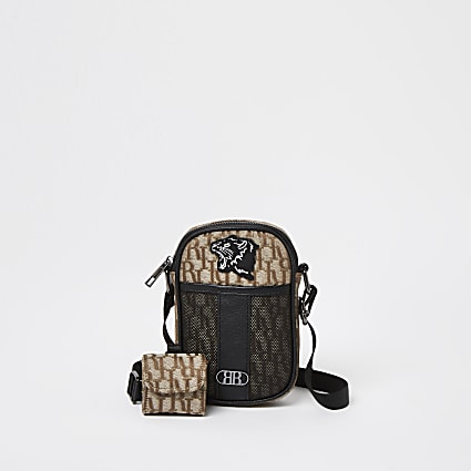 Boys brown RI nylon cross body bag