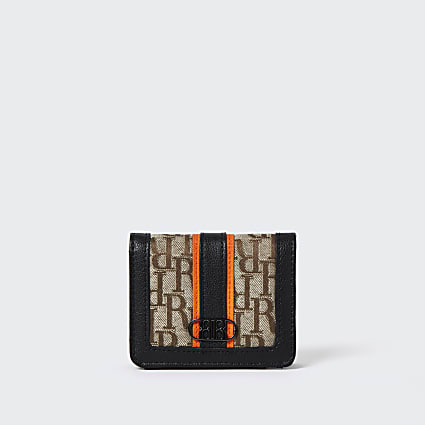 Boys brown RI print  nylon wallet