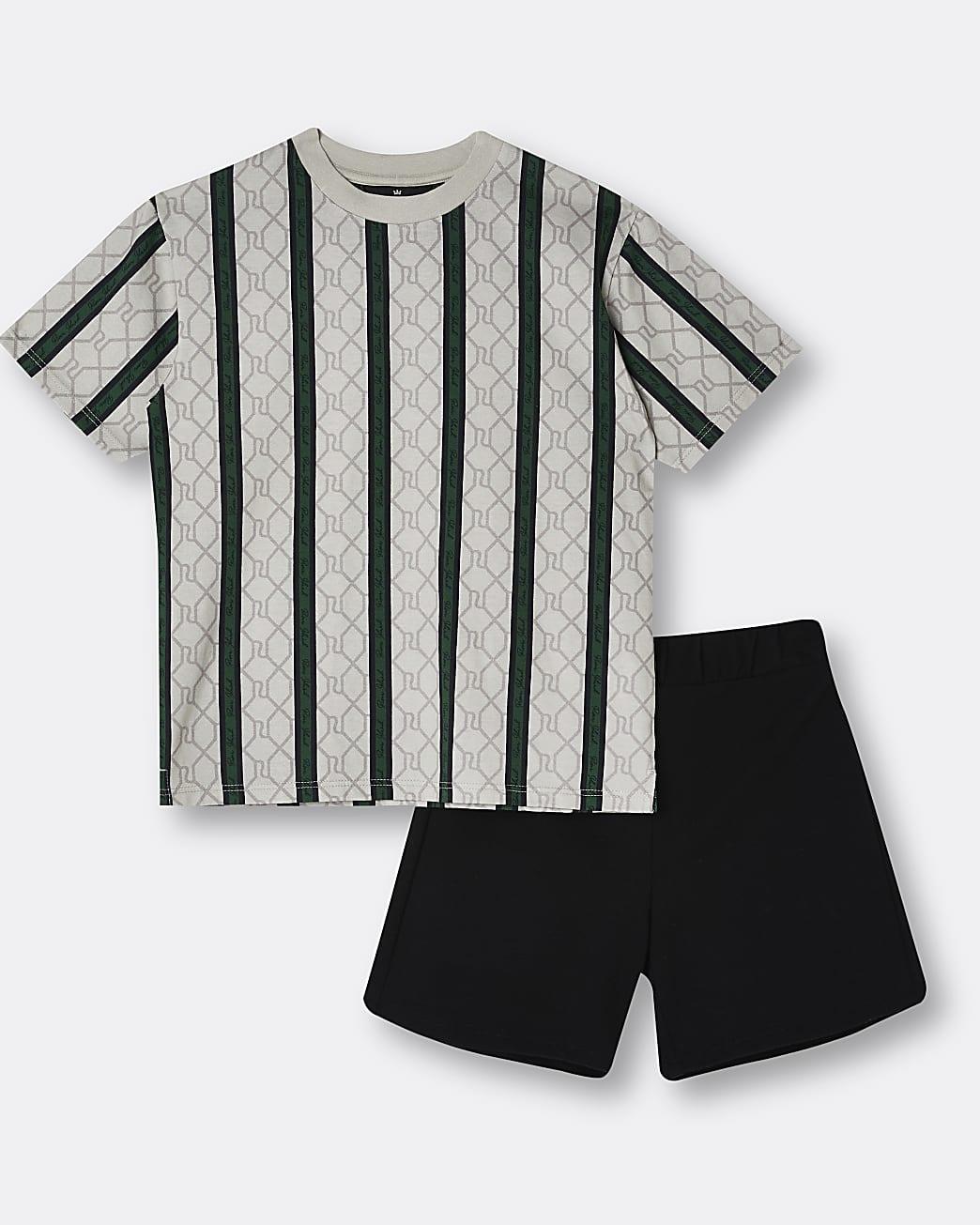 Boys brown RI stripe pyjama set