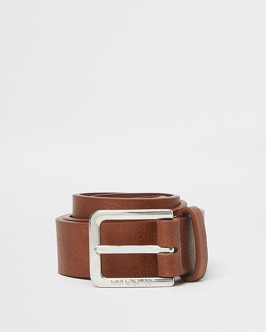 Boys brown RI textured belt