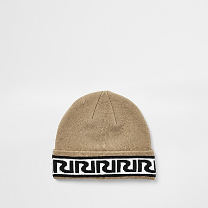 Boys brown RIR monogram beanie hat