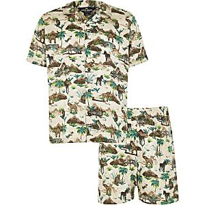 Bruine satijnen pyjama met 'Safari'-print voor jongens