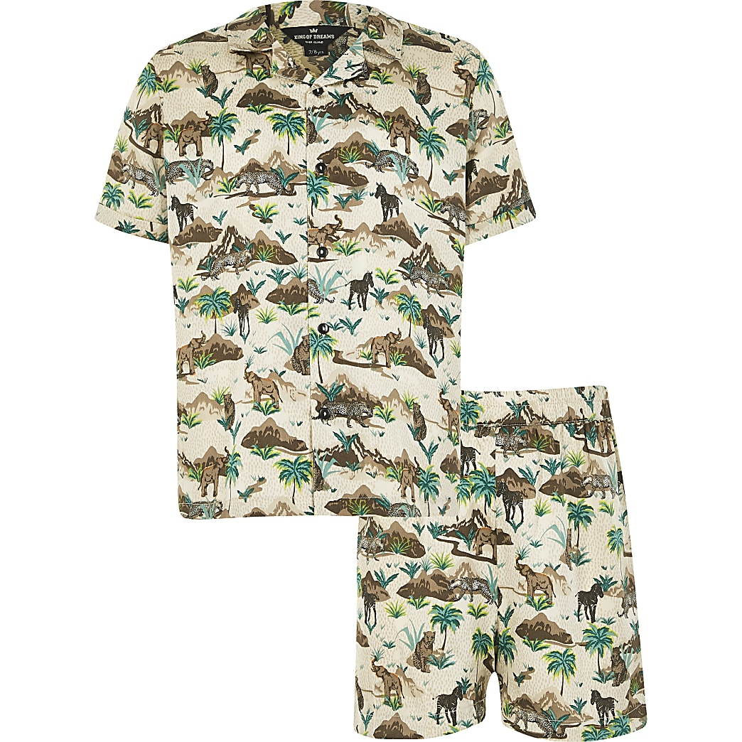 Boys brown 'Safari' satin pyjamas