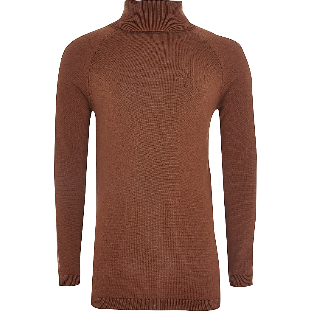 Boys brown stripe roll neck knitted jumper