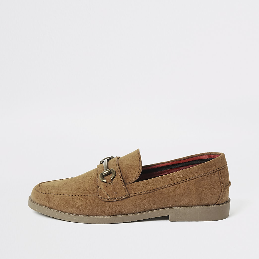 Boys brown suedette snaffle loafers
