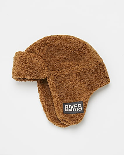 Boys brown teddy borg trapper hat
