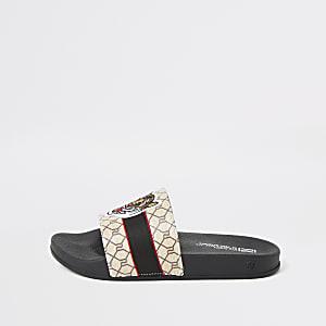 Bruine slippers met tijgerprint en RI-monogram