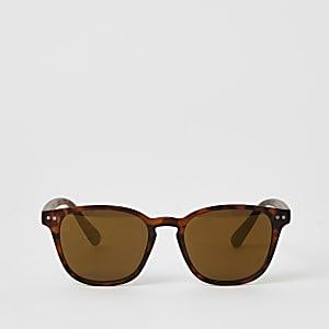 Bruine retro zonnebril met schildpaddenmotief voor jongens