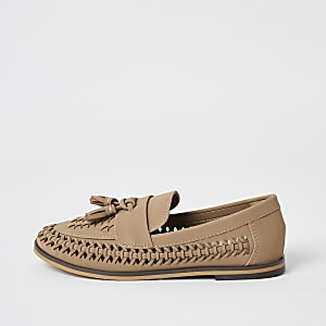 Boys brown woven tassel loafers