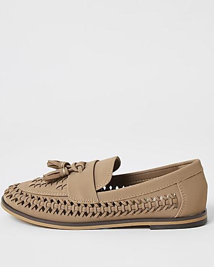 Boys brown woven tassel loafers
