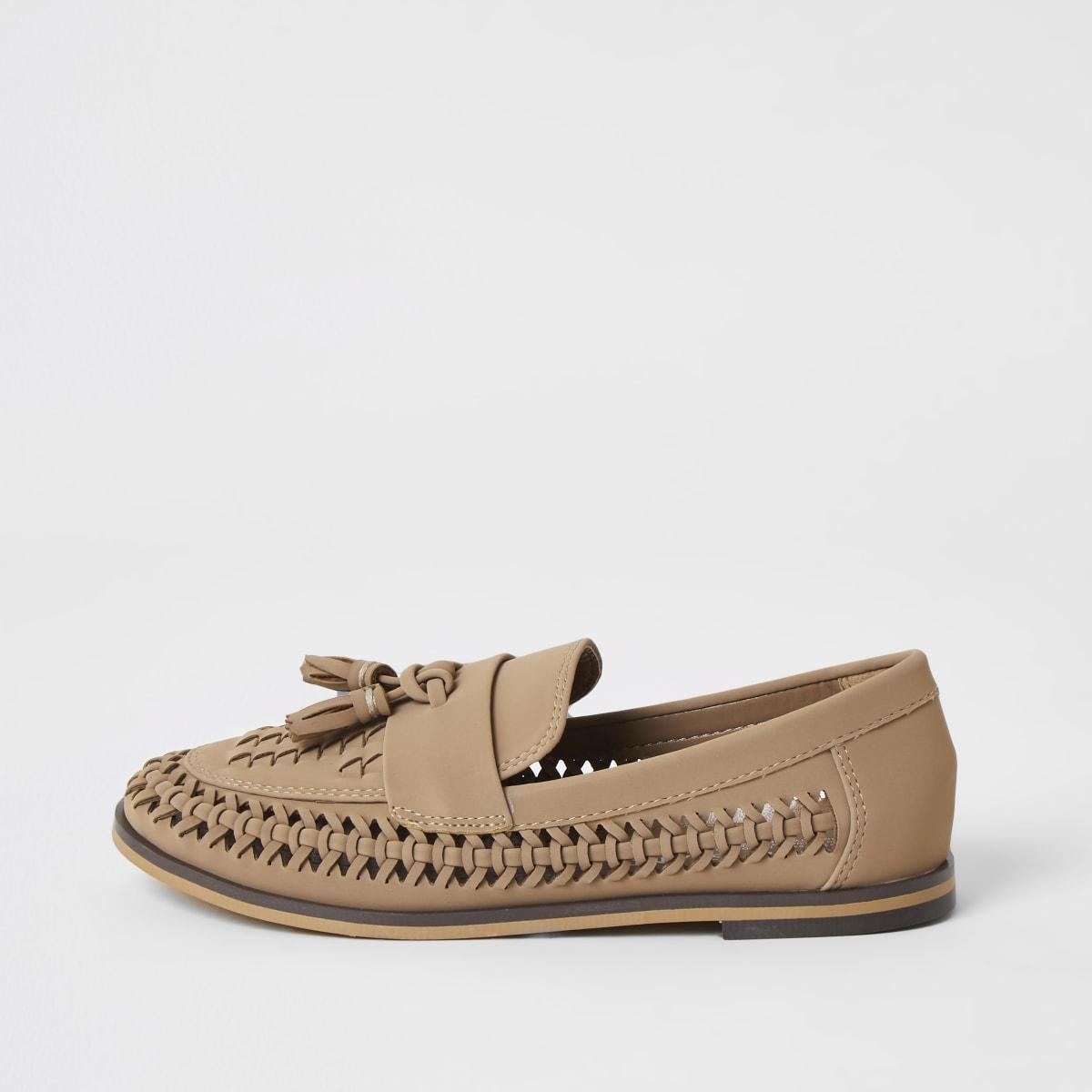 Bruine geweven loafers met kwastje voor jongens