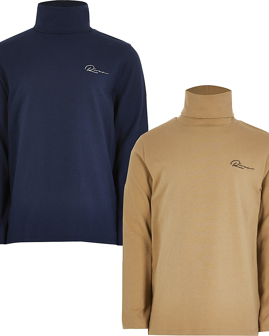 Boys camel and navy roll neck top 2 pack
