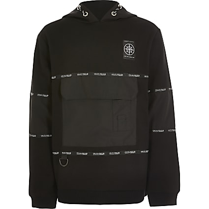Boys 'Concept' black tape utility hoodie