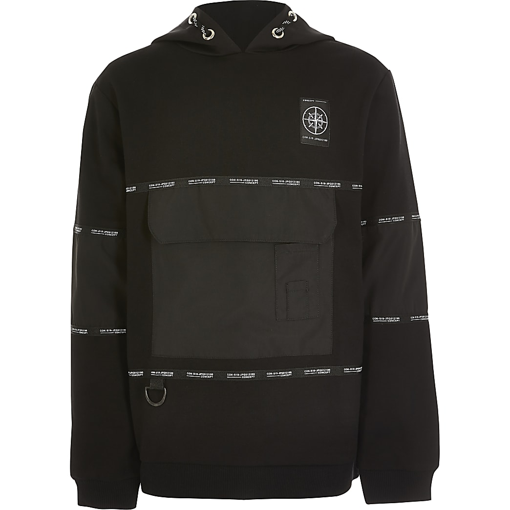 Boys 'Concept' black tape utility hoodie