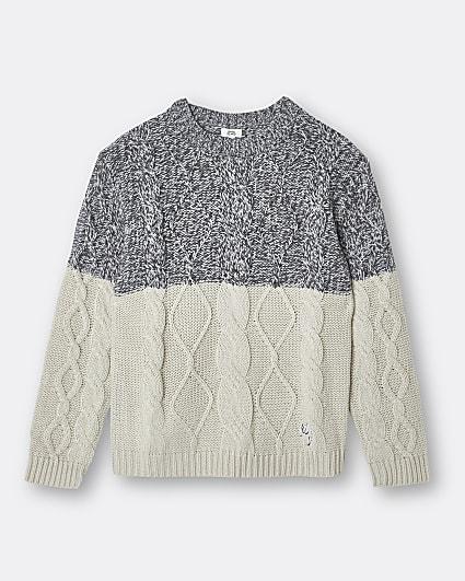 Boys cream cable knit colour block jumper