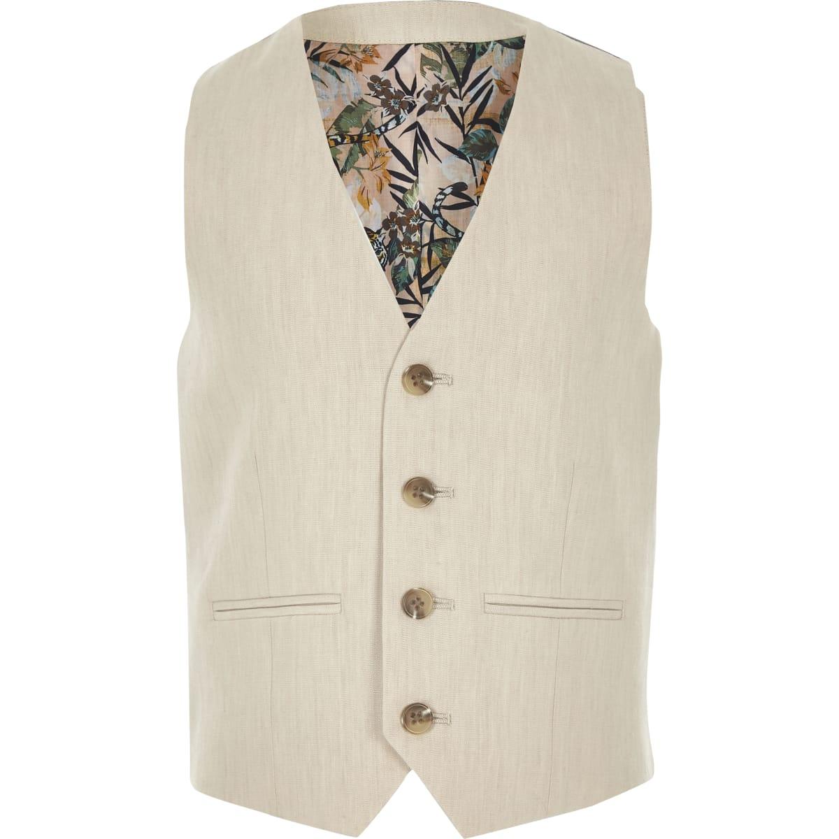 Boys cream linen suit waistcoat