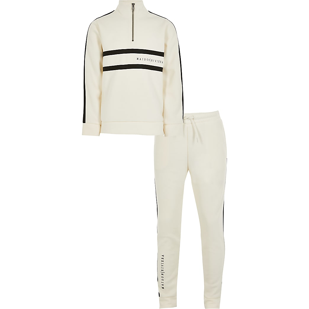 Boys cream maison side taped tracksuit