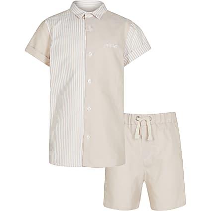 Boys cream stripe polo shirt outfit