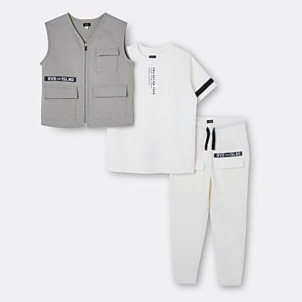 Boys cream utility gilet 3 piece outfit