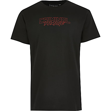 Boys Criminal Damage black dragon T-shirt