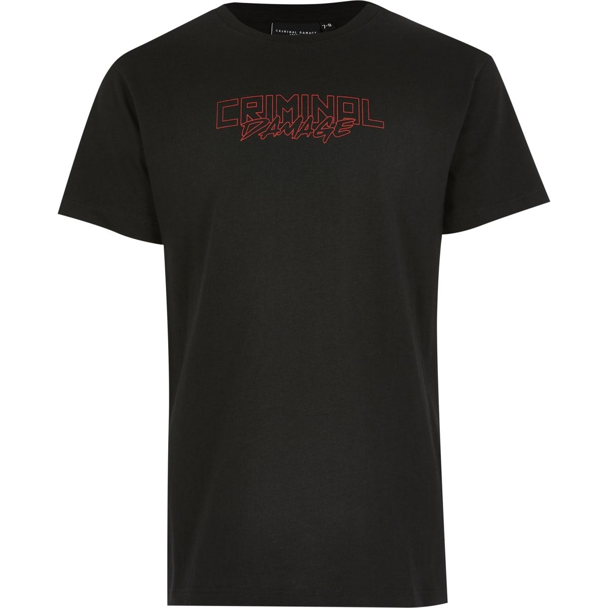 Boys Criminal Damage black dragon T-shirt
