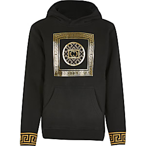 Boys Criminal Damage black printed hoodie