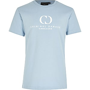 Boys Criminal Damage blue printed T-shirt