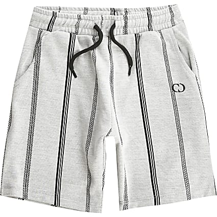 Boys Criminal Damage grey stripe shorts