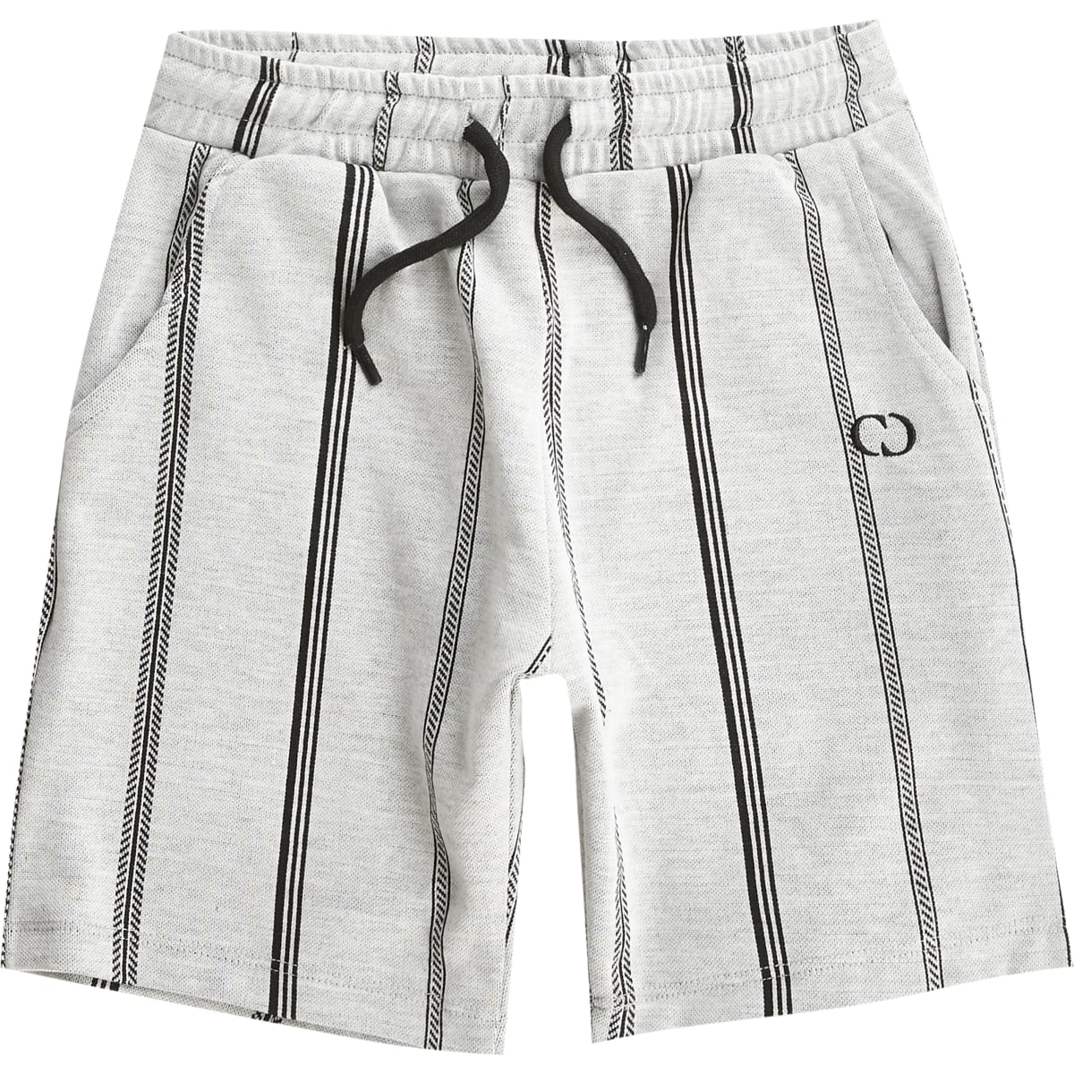 Boys Criminal Damage grey stripe shorts