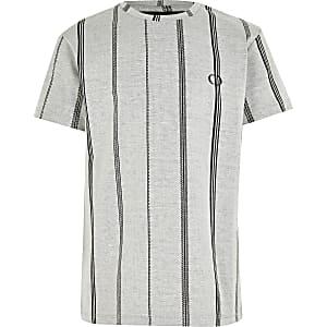 Criminal Damage– T-shirt à rayures gris pour garçon