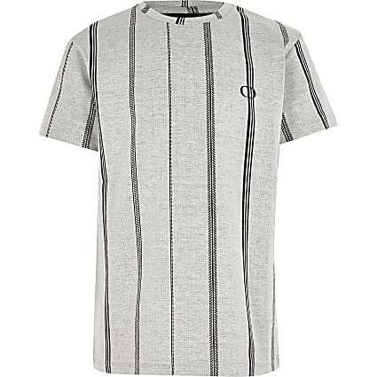 Boys Criminal Damage grey stripe T-shirt