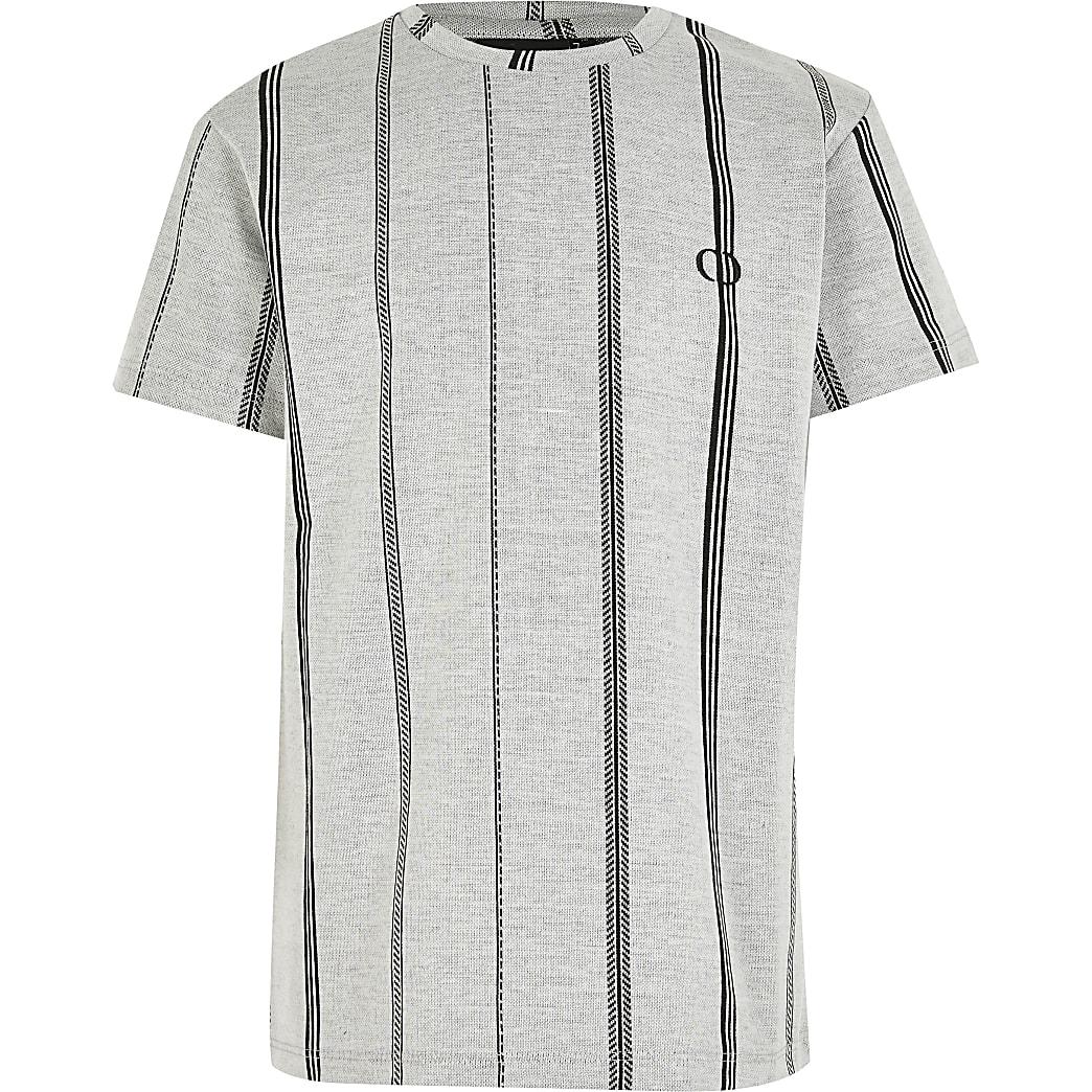 Boys Criminal Damage grey stripe T-shirt
