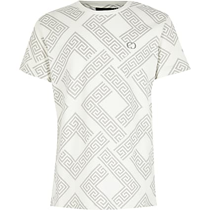 Boys Criminal Damage white printed T-shirt