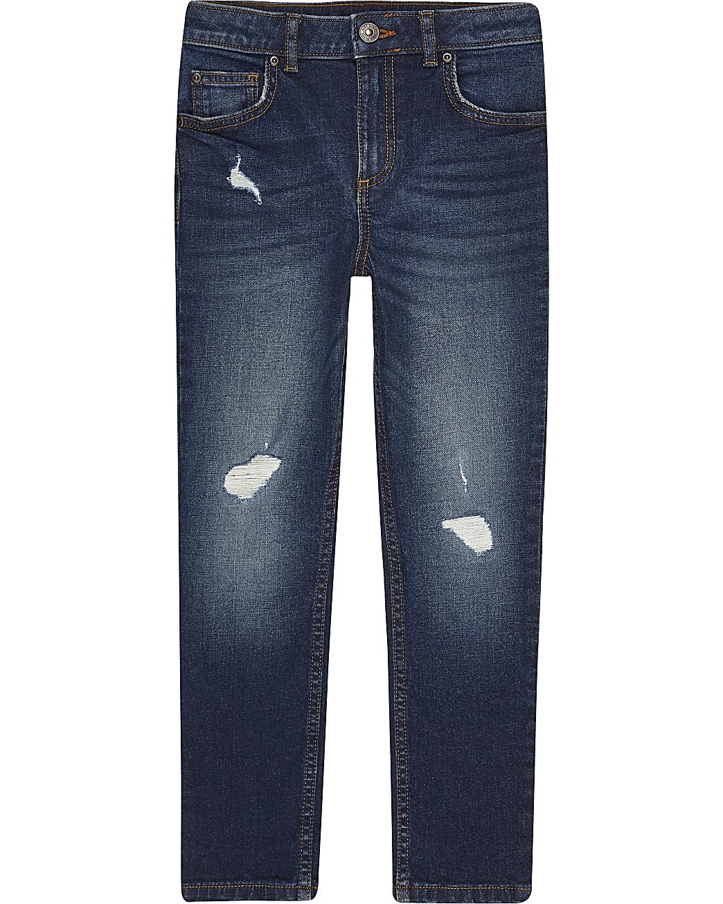 Boys dark blue ripped skinny jean