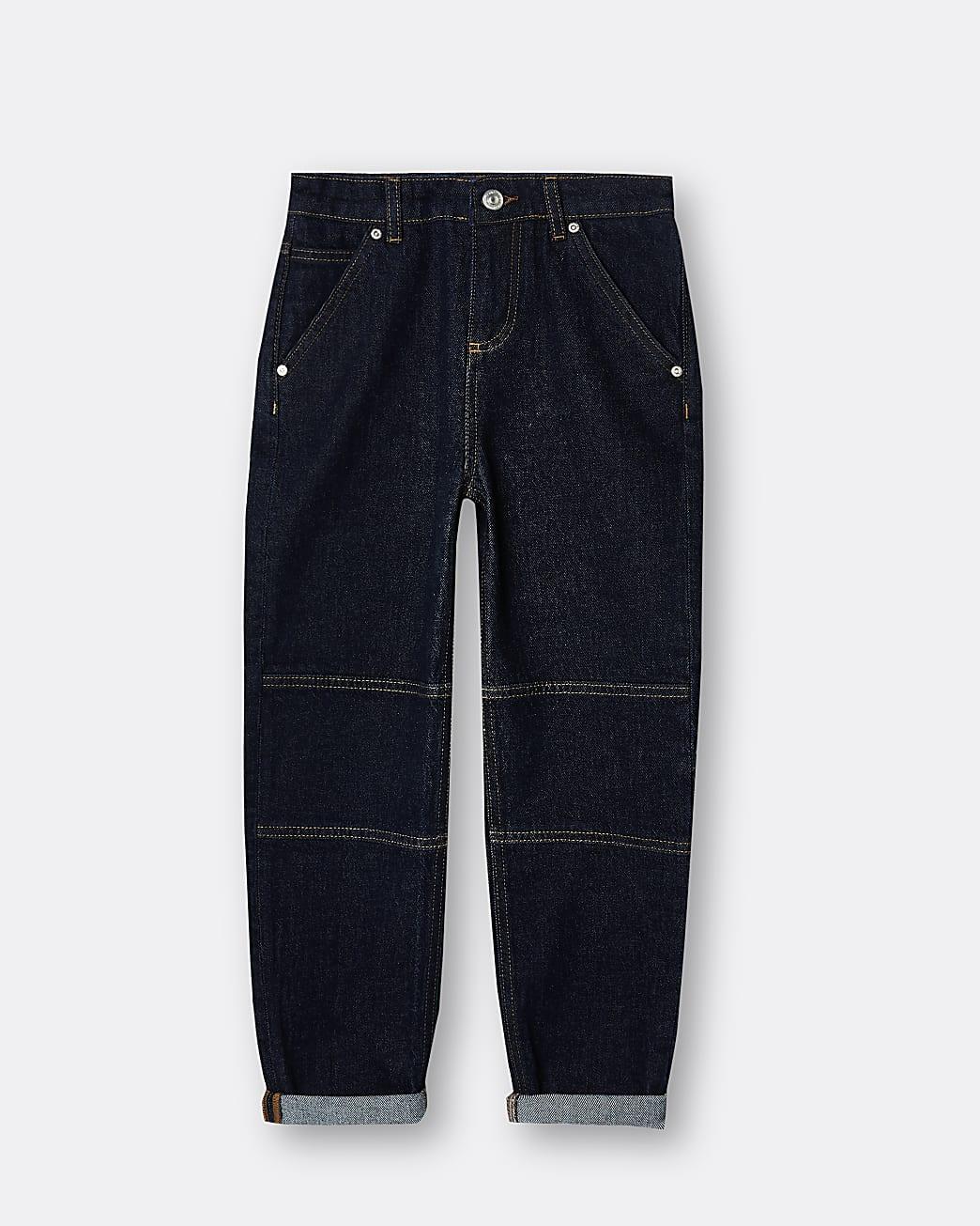 Boys dark blue turn up hem jeans