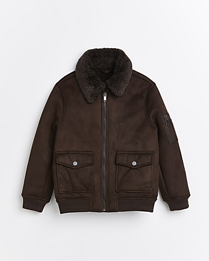 Boys dark brown borg utility jacket