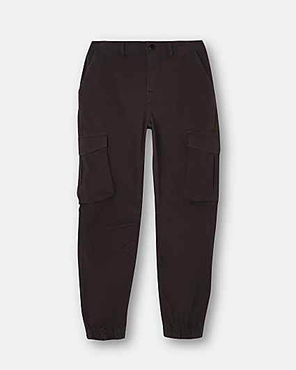 Boys dark brown washed cargo trousers