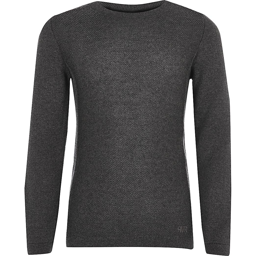 Donkergrijze gebreide pullover voor jongens