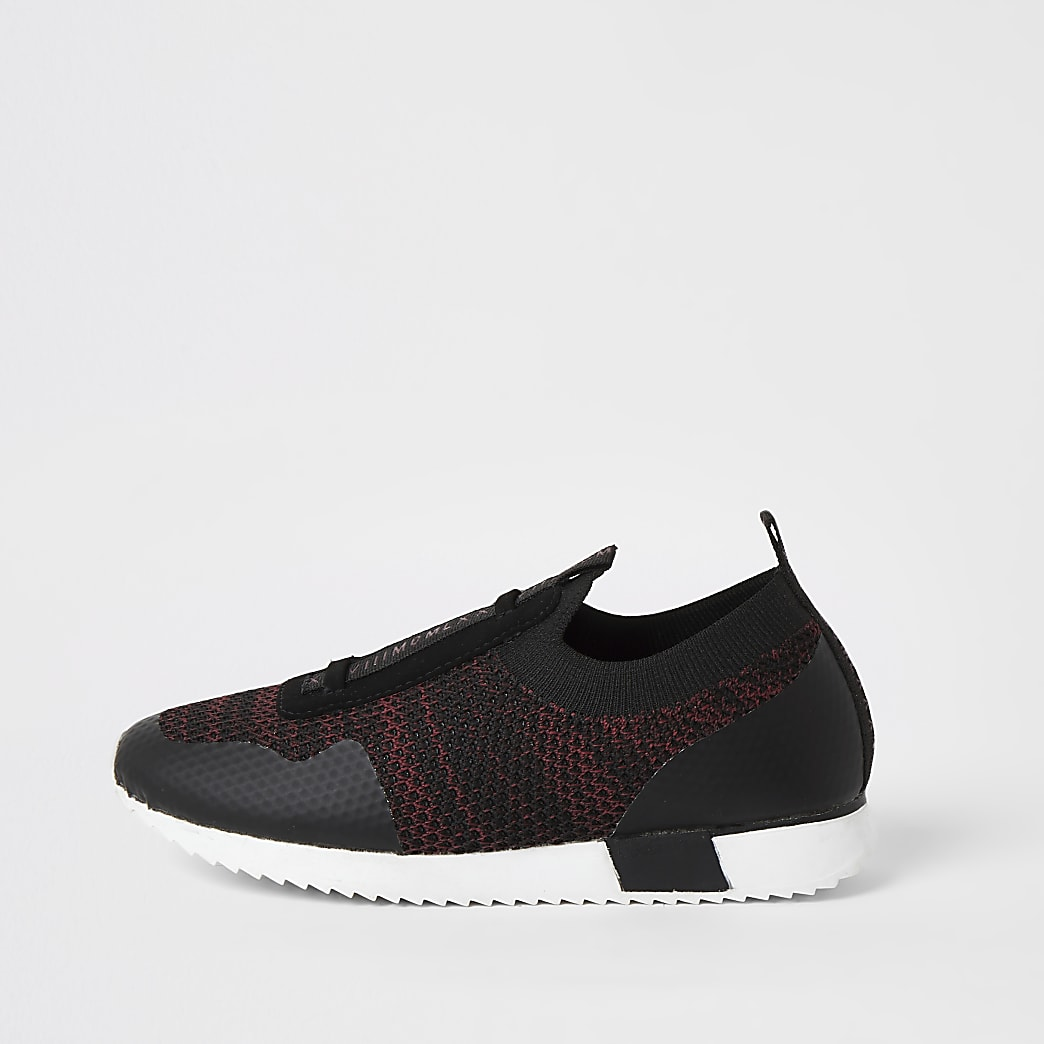 Boys dark red knitted runner trainers