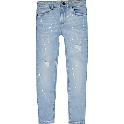 Boys Denim paintsplat super skinny jeans