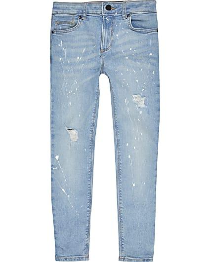 Boys Denim paintsplat super skinny jeans