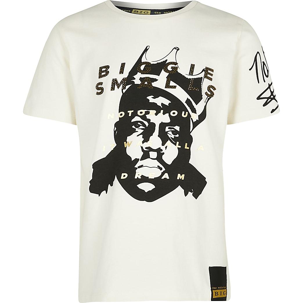 Boys ecru Biggie t-shirt