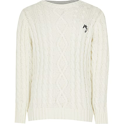 Boys ecru cable knit jumper