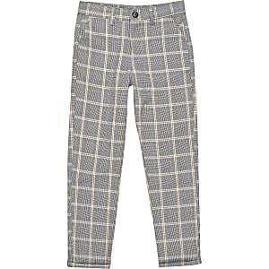 Boys ecru check smart trousers