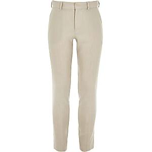 Slim Fit Anzughose aus Leinen in Ecru für Jungen