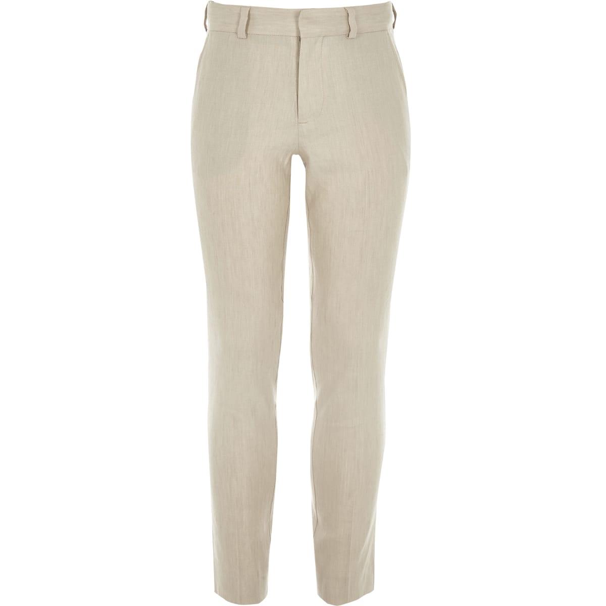 Boys ecru linen slim fit suit trousers